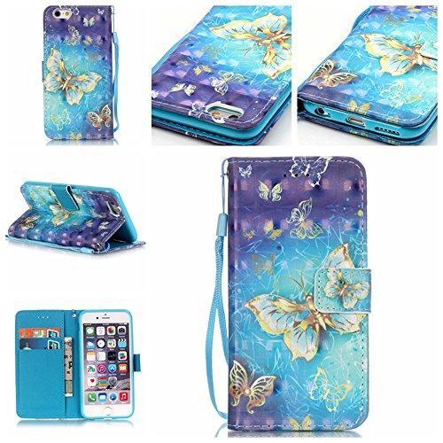 iPhone 6S Plus/6 Plus Hülle im Bookstyle, Linvei ®3D-Effekt PU Leder Flip Wallet Case Schutzhülle für Apple iPhone 6S Plus/6 Plus (5.5 Zoll) Tasche Handytasche mit Magnetverschluss Kartenfach Standfunktion Muster Handyhülle