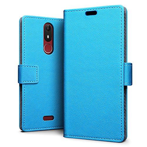 SLEO Wiko View Lite Hülle, PU Leder Case Tasche Schutzhülle Flip Case Wallet im Bookstyle für Wiko View Lite Cover - Blau