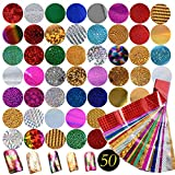 50pcs Nail Art Foil Transfer Stickers Paper, Starry Sky Shining DIY Nail Foil Transfer for Gel Nails Tips Decorations