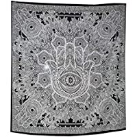 Tapestry Black White Hamsa Hand Sketched Good Luck Mandala Indian Cotton Wall Hanging By Raajsee