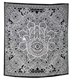 Exklusive Grau schwarz Hamsa Hand Fatima Marken Stickset für GOODLUCK von raajsee, grau indischen Mandala Wand Kunst, schwarz und weiß Gobelin, Hippie Wandbehang, Bohemian Gr. 210 * 230 cms
