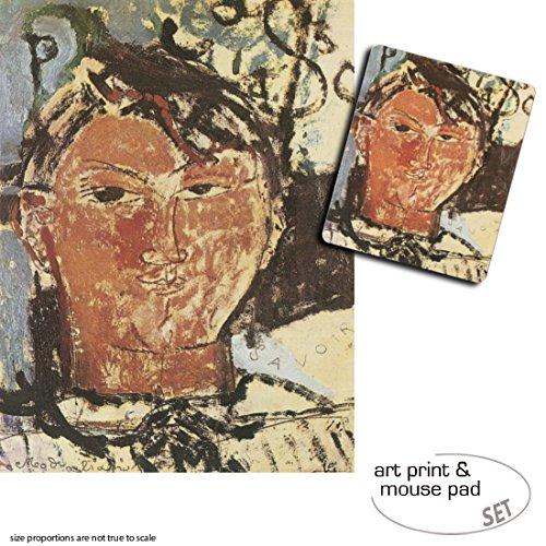 Geschenkset: 1 Poster Kunstdruck (80x60 cm) + 1 Mauspad (23x19 cm) - Amedeo Modigliani, Bildnis Pablo Picasso, 1915, Detail -