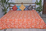Handicrunch Tagesdecken Designer Bettwäsche für Teens Ikat Quilts König orange