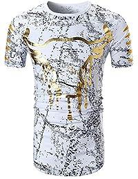 Rera Homme T-Shirt Dashiki Été Longue Imprimé Floral Style Ethnic Slim Fit Top Blouse DéContracté Manches Courts Col Rond Chemise Tee Pullover Hip Hop