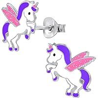FIVE-D Orecchini da bambina a forma di unicorno in argento Sterling 925, con custodia per gioielli