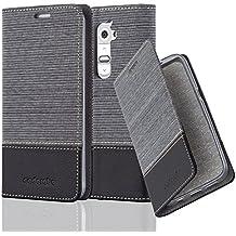 Cadorabo - Funda Estilo Book para LG G2 de Diseño Tela / Cuero Arificial con Tarjetero, Función de Suporte y Cierre Magnético Invisible - Etui Case Cover Carcasa Caja Protección en GRIS-NEGRO