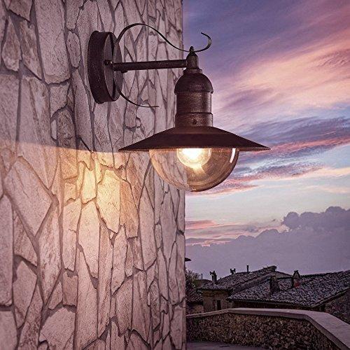 Wand-Laterne Acrylglas 28,6 cm braun | Außenleuchte rustikaler Landhaus-Stil | Wandlampe antik |...