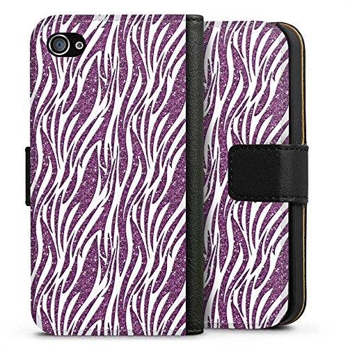 Apple iPhone X Silikon Hülle Case Schutzhülle Zebramuster Muster Mode Sideflip Tasche schwarz