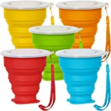 SENHAI 5 Pack Collapsible Travel Cup with Lid, 6Oz Silicone Foldable Drinking Mug, BPA Free Retractable for Hiking Camping Picnic - Blue, Green, Yellow, Orange, Red