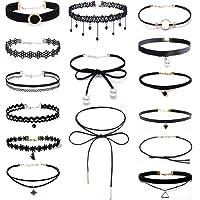 Set di collane a girocollo per donna, stile gotico classico, in velluto, stretch, tattoo, pizzo ecc.,15 pezzi, nero