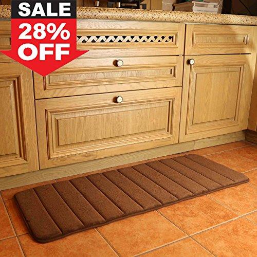 Küchenläufer Antirutsch Küchenmatte Wasserabweisend Badezimmer Teppich for Home and Office 120 x 45 cm braun by KMAT -
