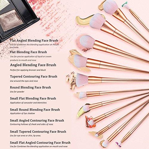 Makeup Brushes Set Makeup Brush Kit Synthetic Kabuki Cosmetics Foundation Blending Concealer Blush Eyeliner Face Powder Cream Lip Brush Cosmetics Tool(12pcs, Rose Gold)