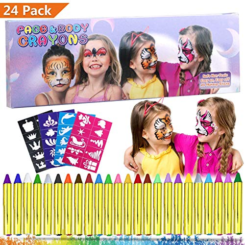 (Emooqi Gesichtsfarbe, 24 Farben Kinder Schminkstifte Gesicht Körper Malerei Kits Sicher und Ungiftig Kinderschminke Set mit 4 Schablonen,Ideal für Fasching,Cosplay,Themenpartys - Geschenk für Kinder)
