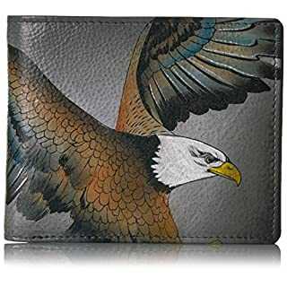 Anuschka Hand Painted Designer Leather Wallet for Men, Stocking fillers and Christmas Gifts for Men -Two Fold Wallet (American Eagle 3000 AME)