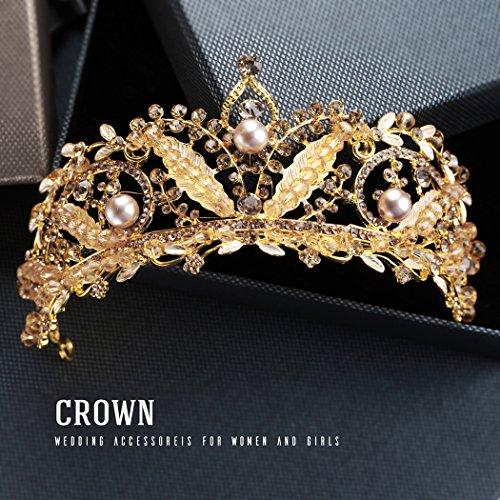 handcess Hochzeit Krone und Tiara gold leaf Barock Queen Prinzessin Kopfband für Brides Frauen und Mädchen (Leaf Licht Gold 12)