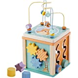jumini Wooden Activity Cube Bead Maze Toy – 5 in 1 Play Activity Cube with Wooden Shapes for Children 1 year+ – Made…