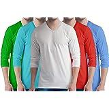 Premium Mens Combo V Neck Full Sleeves Pack of 5 Cotton Plain with White t-Shirts. Casual, Stylish, Plain Tshirts