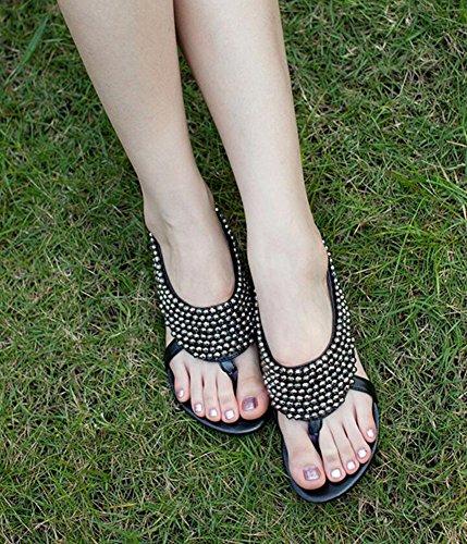 Wealsex Sandales Plates Bout Ouvert Flip Flop Strass Bijoux Perle Bohême Casuel Chaussure Été Plage Fête Voyage Vacances Femme Noir