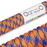 Paracord 550 Seil, 31 Meter, für Armband, Knüpfen von Hundeleine oder Hunde-Halsband zum selber machen / Seil mit 4mm Stärke / Mehrzweck-Seil / Survival-Seil / Parachute Cord belastbar bis 250kg (550lbs), Farbe: orange, blau, Marke Ganzoo