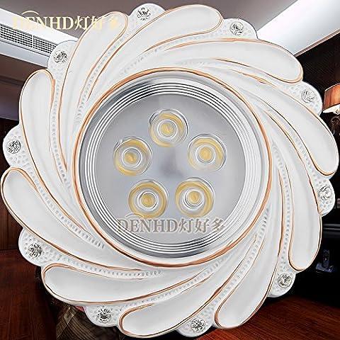 La via della luce LED a luce calda Spotlight Faretto luce a soffitto continentale Americana 5W Lampada fori da soffitto,bianco caldo