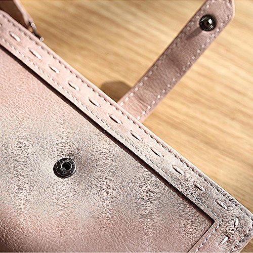 Woolala Donna Vegano Leather Wallet Slim Bifold In Contanti Carte Di Supporto Del Telefono Della Borsa Della Frizione A Lungo Con La Chiusura Lampo Pocket, Rosa Scuro Navy