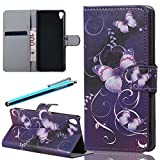 LazyBear 2 in 1 Cellphone Case for Sony Xperia XA (Butterfly) PU Leather Wallet Stand Function Smartphone Flip Case Soft Inner Shell with Magnetic Closure and Card Slot Holder Cover Mobile Phone Protective Skin Case x 1 & Stylus Pen x 1