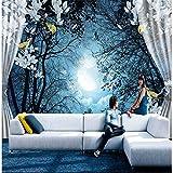 XXPFF Benutzerdefinierte Tapete 3D Wandbild Vorhang Blumen Schwarz Tapete Wohnzimmer Ruhig Mondschein 3D Tv Hintergrund Tapeten Wandbild M 200 cm (W) X 100 cm (H)