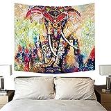Wandteppich Mandala Moderne Tapisserie Yoga Matte Wand Hängende Dekoration für Wohnung Wohnheim Schlafzimmer Wohnzimmer Tisch Couch Cover Square Strandtuch (200 x 150cm, Indien Elefant)