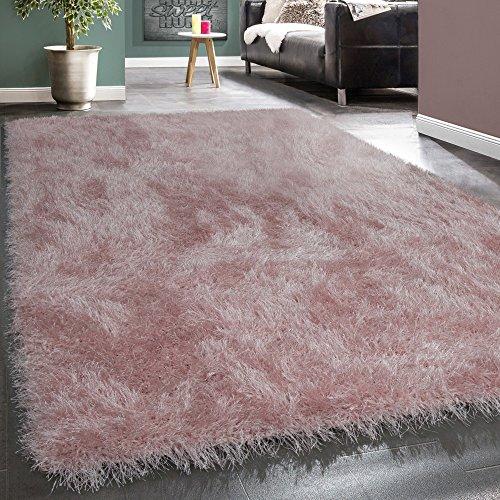 Shaggy Hochflor Teppich Modern Soft Garn Mit Glitzer In Uni Pastell Rosa, Grösse:120x170 cm (Haut-teppich)