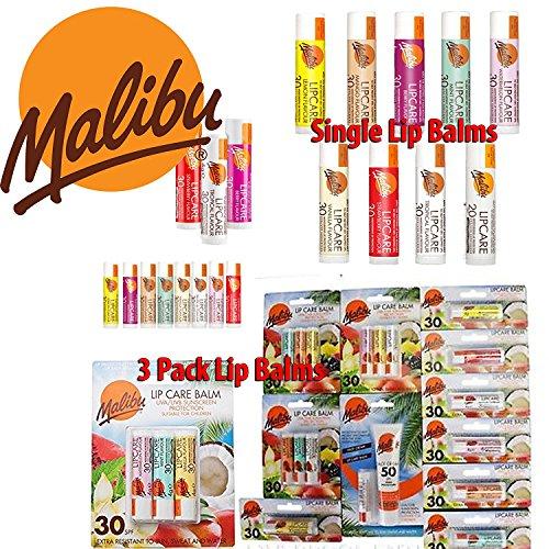 Malibu, burrocacao con gusti assortiti spf30,crema solare viso spf50e spf30