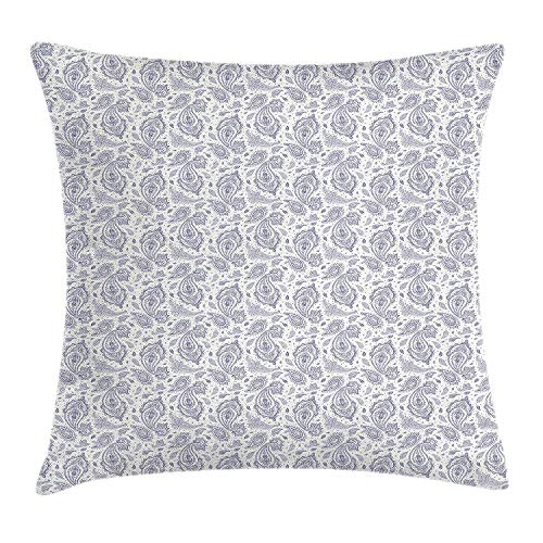 Princess House Heritage (ziHeadwear Ethnic Throw Pillow Cushion Cover, Soft Toned Shabby Traditional Culture Heritage Persian Effects Sacred Motif, Decorative Square Accent Pillow Case, 18 X 18 inches, Dark Blue White)