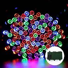 lederTEK Brillante Super Energía Batería Luces de Hadas de Cuerda en 200 LED 15.7M con Temporizador Automático y 8 modos de Iluminación, Lámparas de Decorativo para Exterior(200 LED Color Multi)
