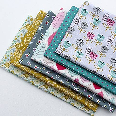 6 Fat Quarters - Gleeful Garden - shades of pink, lime green, teal green and grey. 100% Cotton Fabric. Ideal for Quilting and Craft Sewing (includes free patchwork pattern)