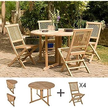 MACABANE 500924 Salon de Jardin Couleur Brut en Teck ...