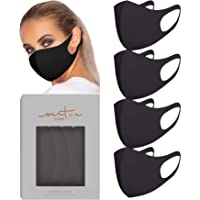 VIRTUE CODE Second Skin Cloth Face Mask Pack. 4 Buttery Soft Masks Washable Fabric - Black Face Mask Reusable. Stretchy…