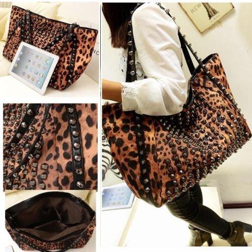 Donna Rivet borsa del leopardo benna Shoulder Tote Bag Hobo