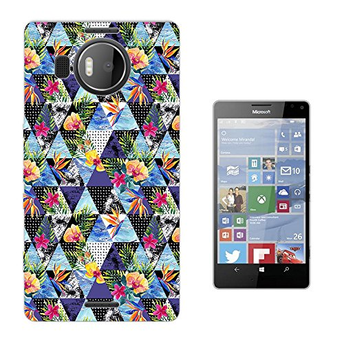 002770 - Geometric Triangles Tropical Floral Roses flowers Design Microsoft Nokia Lumia 950 XL Fashion Trend Silikon Hülle Schutzhülle Schutzcase Gel Rubber Silicone Hülle