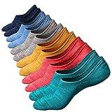 Sneaker Socken, Anliceform Herren tief geschnittene Baumwollsocken unsichtbare Socken Antirutsch-Funktion, aus hochwertiger gekämmter Baumwolle