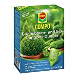COMPO Buchsbaum- und Ilex Langzeit-Dünger für alle Buchsbaumarten, Hecken und Sträucher, 6 Monate Langzeitwirkung, 2 kg, 40m²