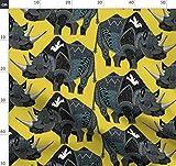 Nashorn, Taube, Indigen, Scrummy, Geometrisch Stoffe -