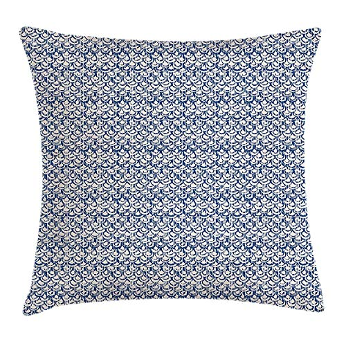 VVIANS Tie Dye Throw Pillow Cushion Cover, Far Eastern Scales Messy Curves with Vertical Stripes and Grungy Look, Decorative Square Accent Pillow Case, 18 X 18 Inches, Navy Blue and Cream - Cotton Candy Tie Dye