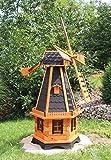 Große Windmühlen, Windmühle Holz behandelt Typ 23.1 und Solarbeleuchtung (groß, Schwarz)
