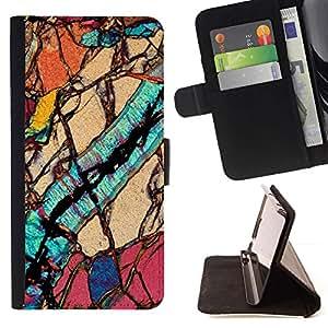 For Samsung Galaxy S6 Case , Macro Close Up Biologia Geologia - Portafoglio in pelle della Carta di Credito fessure PU Holster Cover in pelle case