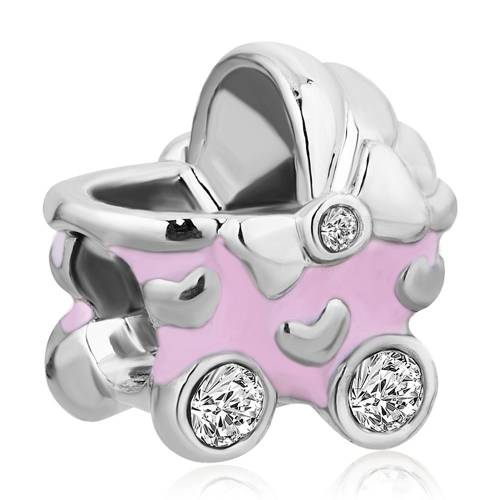 Uniqueen Girl Baby CZ Crystal Carriage Bead Charms Fit Bracelet