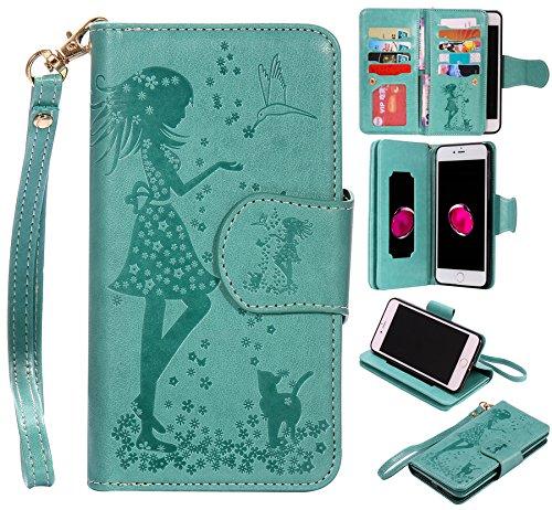 Ooboom® iPhone 6S/6 Plus Hülle Prägen Mädchen Muster Flip PU Leder Handy Tasche Brieftasche Wallet Case Cover für iPhone 6S/6 Plus - Rosa Grün