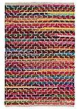 Second Nature ONLINE Multi Farbe Mandira recycelte Baumwolle Flickenteppich mit Stich Detail 60cm x 90cm
