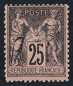 Timbre France Yvert n°97, 25c noir sur rose, Type II, neuf * - TB - signé CALVES