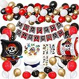 SPECOOL Decorazioni per Feste di Compleanno dei Pirati con Striscione temporaneo per Tatuaggi Pirata Nave Pirata Palloncini per Bambini per Bambini Feste a Tema Pirata Forniture di Compleanno