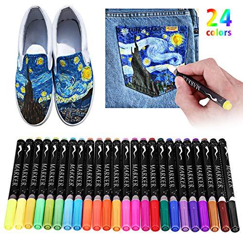 Pennarelli per tessili,ratel 24 colori tessuto pennarelli no bleed non tossico permanente pennarelli per tessuti,ideale per decorare t-shirt, bavaglini, tessuti, scarpe, borse, firme di laurea
