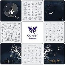 CiCi & SISI acrílico Nail Art Stamping Image Placas Kit Horror Noche sello placa colección 4piezas